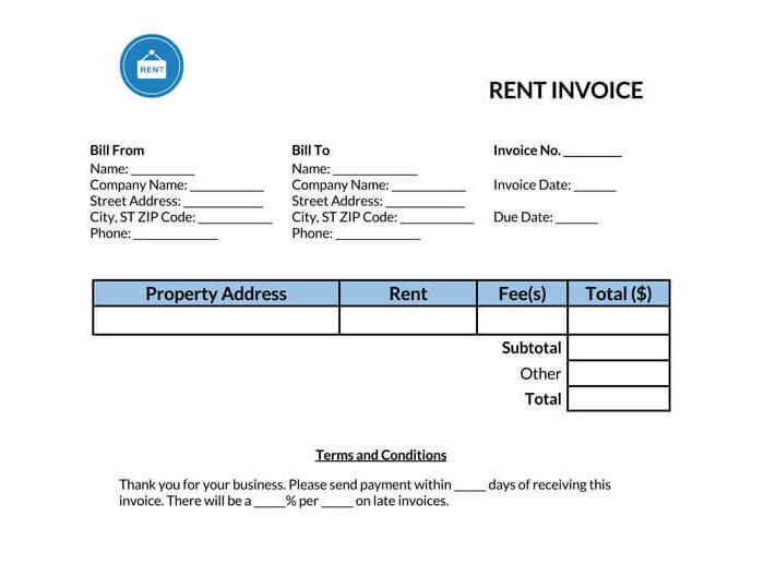 Rent Invoice Template 01
