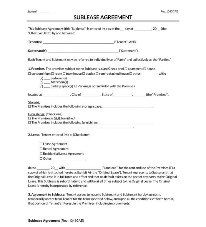 Residential Sublease Agreement 01