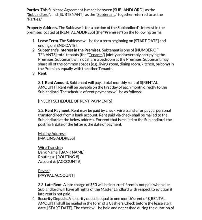 Residential Sublease Agreement 03