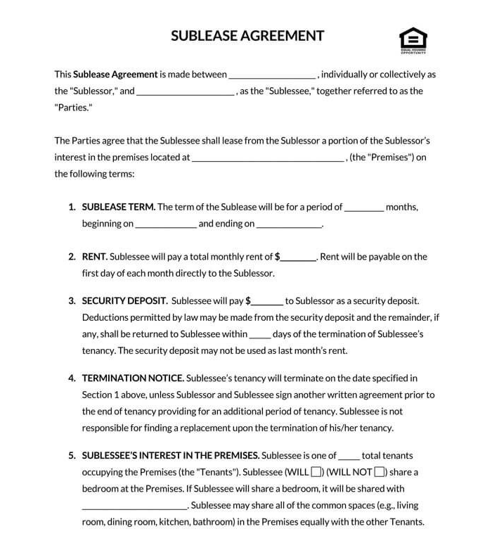 Residential Sublease Agreement 04