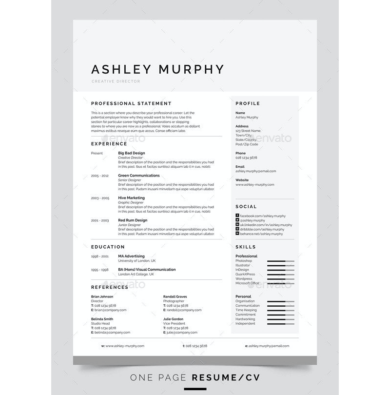 Clean Chronological Web Designer Resume Template